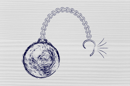 stress ball: ball and chain getting broken, metaphor of breaking free