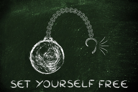 stress ball: ball and chain getting broken, concept of setting yourself free Stock Photo