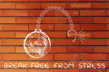 breaking free: ball and chain getting broken, metaphor of breaking free from stress