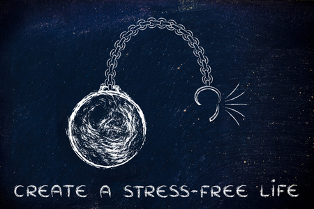 stress ball: ball and chain getting broken, metaphor of creating a stress-free life Stock Photo