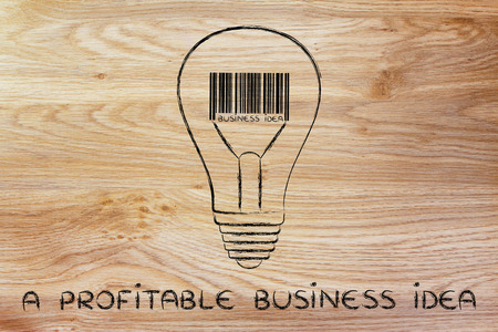 different goals: concept of a profitable business idea: lightbulb with bar code instead of filament