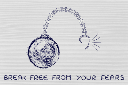 breaking free: ball and chain getting broken, metaphor of breaking free from your fears