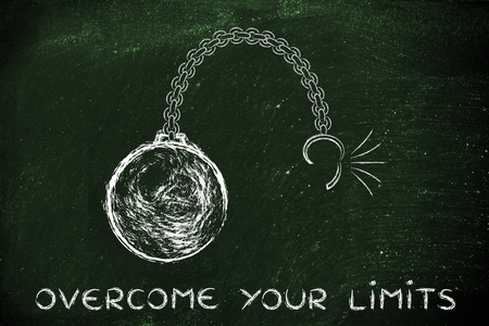 limits: ball and chain getting broken, metaphor of overcoming your limits