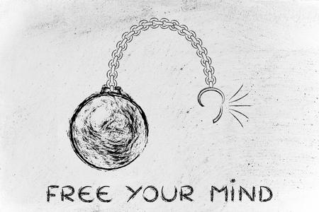 ball chain: ball and chain getting broken, metaphor of freeing your mind