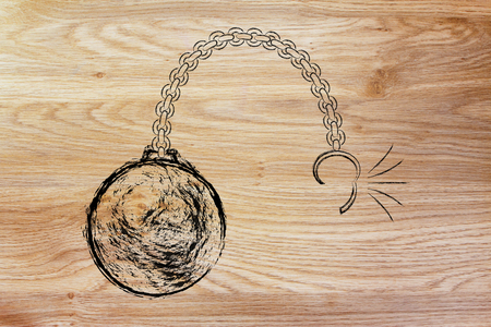 chain ball: ball and chain getting broken, metaphor of breaking free