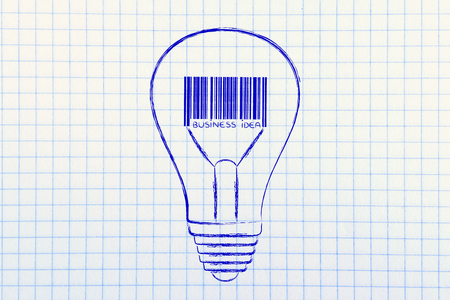 different goals: concept of profitable business or marketing idea: lightbulb with bar code instead of filament Stock Photo