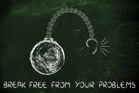 ball and chain: ball and chain getting broken, metaphor of breaking free from problems