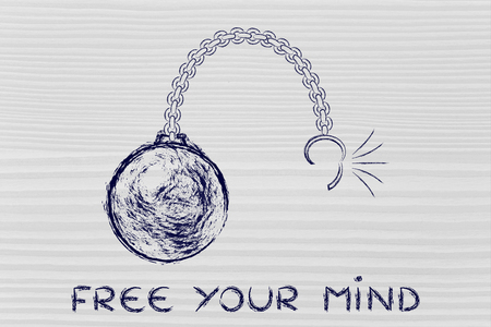 freeing: ball and chain getting broken, metaphor of freeing your mind