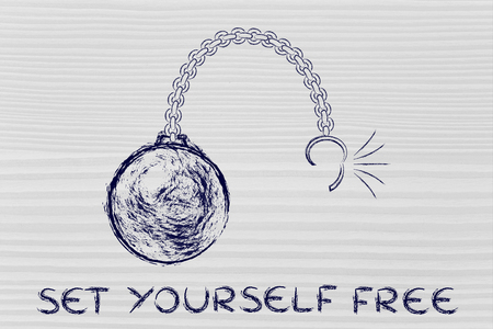 ball chain: ball and chain getting broken, concept of setting yourself free Stock Photo
