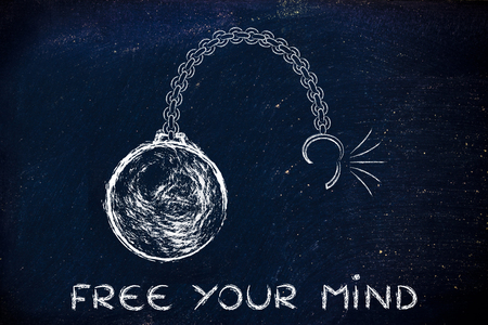 stress ball: ball and chain getting broken, metaphor of freeing your mind