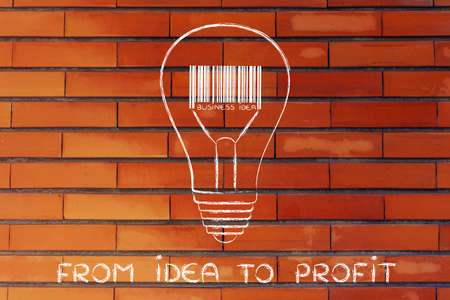 different goals: from idea to profit: lightbulb with bar code instead of filament Stock Photo