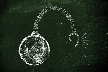 breaking free: ball and chain getting broken, metaphor of breaking free