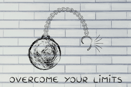 overcoming: ball and chain getting broken, metaphor of overcoming your limits