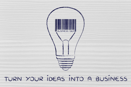 different goals: concept of turning your ideas into a business: lightbulb with bar code instead of filament Stock Photo