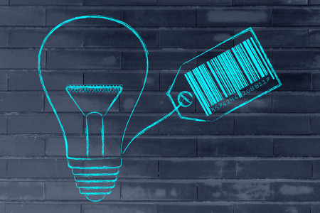 coming up with: concept of coming up with profitable ideas: lightbulb with price tag and bar code