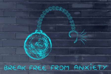 breaking free: ball and chain getting broken, metaphor of breaking free from anxiety Stock Photo