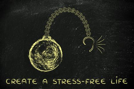 life metaphor: ball and chain getting broken, metaphor of creating a stress-free life Stock Photo