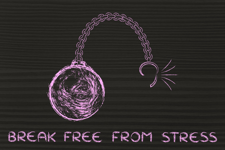 chain ball: ball and chain getting broken, metaphor of breaking free from stress