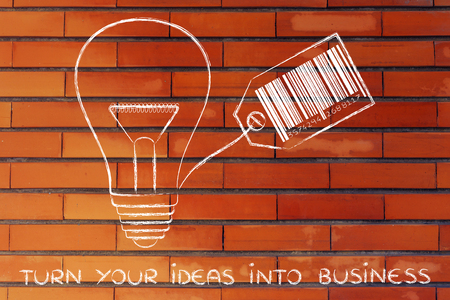 different goals: turn your ideas into business: lightbulb with price tag and bar code Stock Photo