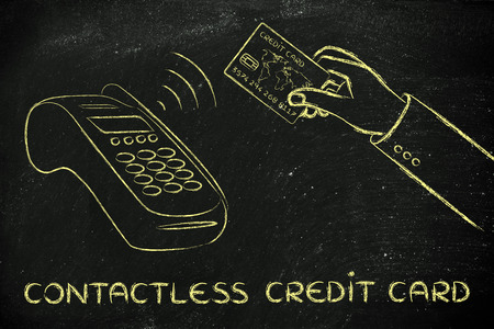 contactless: contactless credit card, client paying by keeping the credit card near a pos terminal