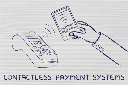 internet terminals: contacless payment systems: smartphone and pos terminal Stock Photo