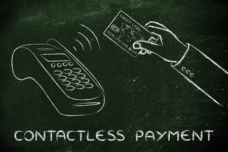 contactless: near field communication payments: client purchasing with contactless card Stock Photo