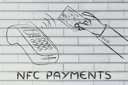 internet terminals: nfc payments, client making a purchase by keeping the credit card near a pos terminal