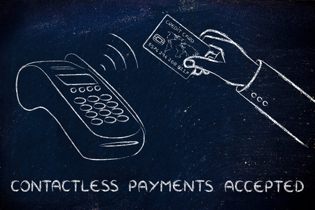internet terminals: contactless payments accepted, client keeping the credit card near a pos terminal