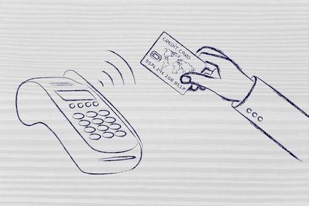 contactless: near field communication payments: client paying with contactless card Stock Photo