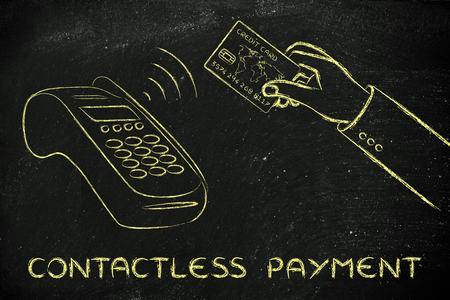 internet terminals: near field communication payments: client purchasing with contactless card Stock Photo