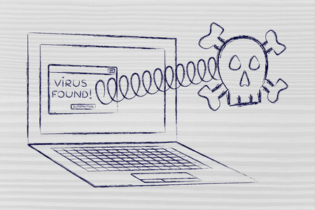 intrusion: viruses and malware: skull coming out of laptop with error message