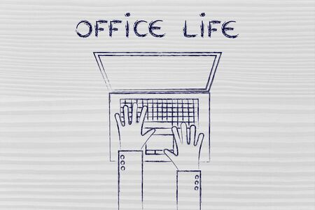 working hours: office life and working hours: flat style illustration of hands typing on a laptop