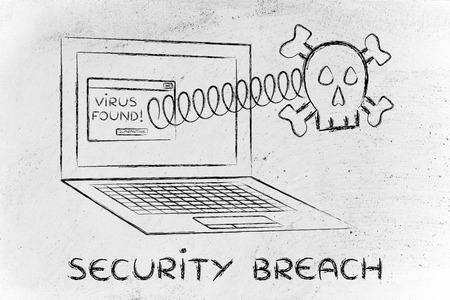 security breach: Security Breach: skull coming out of laptop with virus message Stock Photo