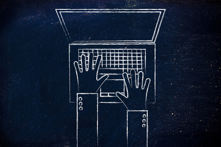 ceo: office life and working on computer: flat style illustration of hands typing on a laptop