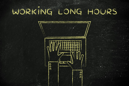 long hours: working long hours at a computer: flat style illustration of hands typing on a laptop Stock Photo