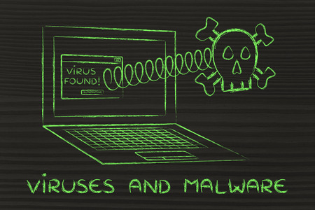 error message: viruses and malware: skull coming out of laptop with error message