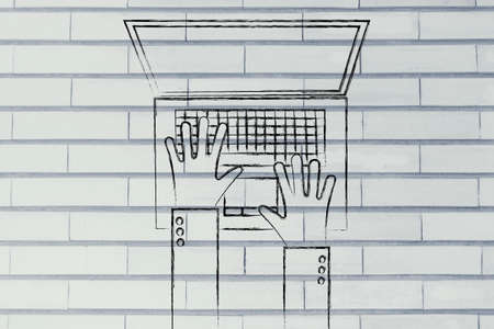 typing on computer: office life and working on computer: flat style illustration of hands typing on a laptop