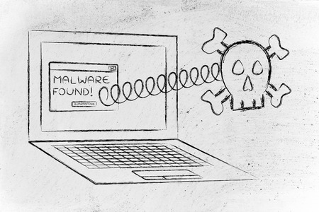 adware: skull coming out of laptop with antivirus message: malware found Stock Photo