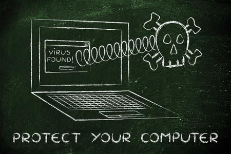adware: Protect your computer: skull coming out of laptop with virus message