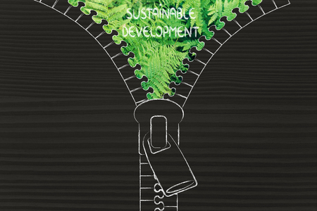 sustainable development: concept of sustainable development: illustration of zip revealing a fern leaves background Stock Photo