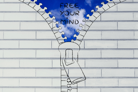 free your mind: free your mind metaphor: illustration of zip revealing a serene sky