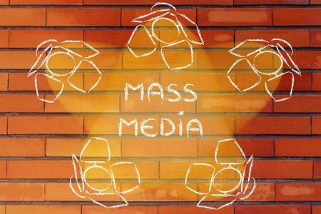 mass media: Mass Media: illustration with marketing concepts in the spotlights