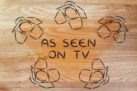 par�?s: As seen on tv: illustration with marketing concepts in the spotlights Foto de archivo