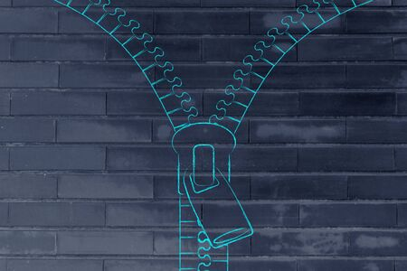 chalk outline: opening zipper illustration whit chalk outline style and copyspace to add text