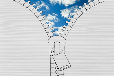 concept of optimism and relax: illustration of zip revealing a blue sky background Stock Photo