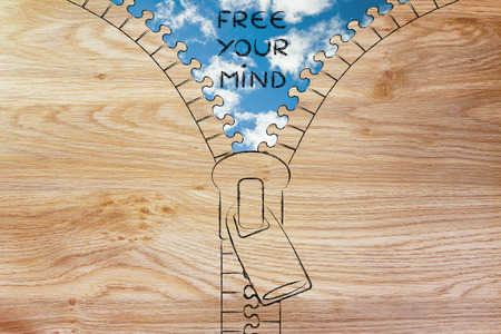 trouble free: free your mind metaphor: illustration of zip revealing a serene sky