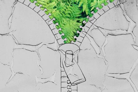 desarrollo sustentable: concept of sustainable development: illustration of zip revealing a fern leaves background Foto de archivo