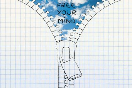 sky metaphor: free your mind metaphor: illustration of zip revealing a serene sky