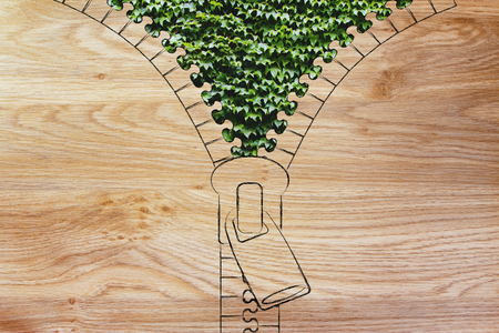 environmental awareness: concept of environmental awareness: illustration of zip revealing an ivy leaves background