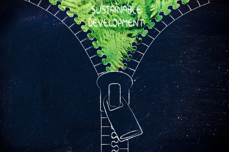 social behaviour: concept of sustainable development: illustration of zip revealing a fern leaves background Stock Photo